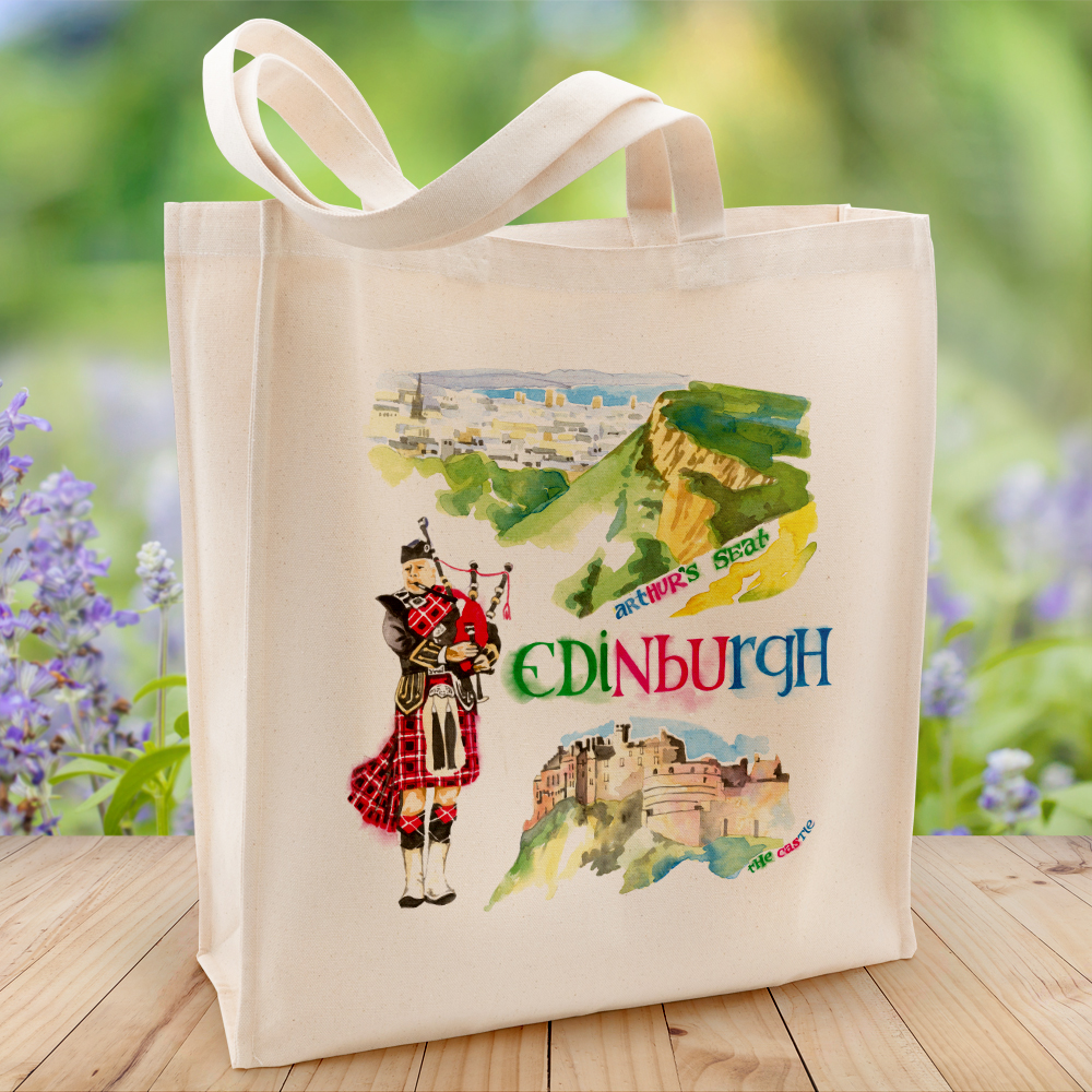 Edinburgh Canvas Bag illustrated by Diz Andrews